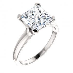Pincess Cut Diamond Engagement Solitaire Bridal Set
