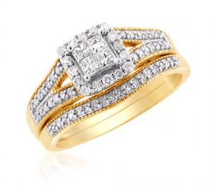 Princess-Cut Floating Dual Haloed Bridal Set In 14k White/Yellow Gold