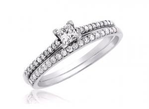 Princess Channel Set Bridal Set In 14k White Gold