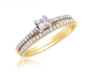 Princess Channel Set Bridal Set In 14k White/Yellow Gold