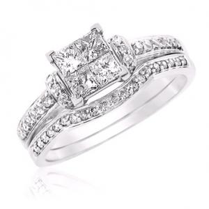 Princess Cut Bridal Set With Unique Design In 14k White Gold
