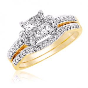 Princess Cut Bridal Set With Unique Design In 14k White/Yellow Gold