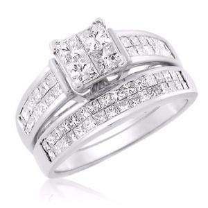 Princess Cut Center Stone Diamond Bridal Set
