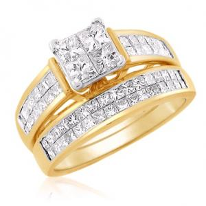 Princess Cut Center Stone Diamond Bridal Set In 14k White/Yellow Gold