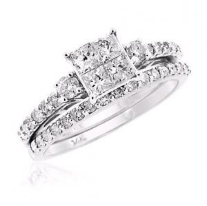 Princess Cut Diamond Bridal Set In 14K White Gold