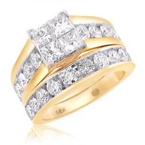 Princess Cut Diamond Bridal Set In 14k White/Yellow Gold