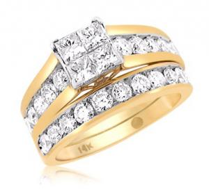 Princess Cut Diamond Bridal Set In 14k White/yellow Gold