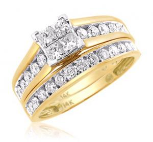 Princess Cut Diamond Bridal Set In 14k Yellow Gold