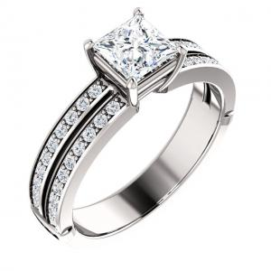 Princess Cut Diamond Split-Shank Engagement Ring