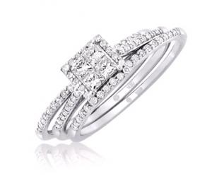 Princess Cut Ladies Bridal Set In 14K White Gold