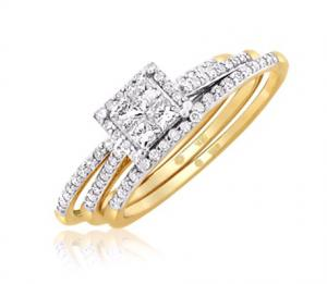 Princess Cut Ladies Bridal Set In 14K White/Yellow Gold