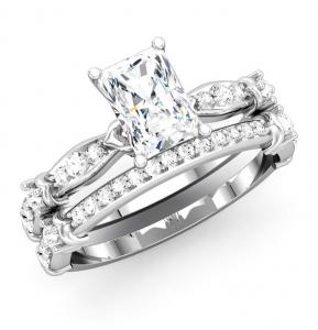 RADIANT-SHAPE SEMI-MOUNT WITH MATCHING DIAMOND BAND