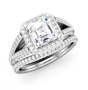 RADIANT DIAMOND SPLIT SHANK FRAME BRIDAL SET