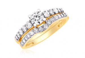 ROUND CENTER BRIDAL SET IN 14K WHITE/YELLOW GOLD