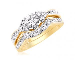 ROUND CENTER STONE DIAMOND BRIDAL SET IN 14K YELLOW GOLD