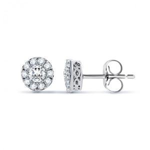 ROUND DIAMOND CLASSIC HALO EARRINGS .50CT