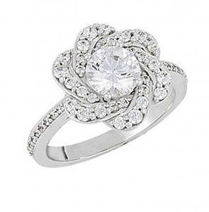 ROUND DIAMOND FLOWER SHAPED ENGAGEMENT RING