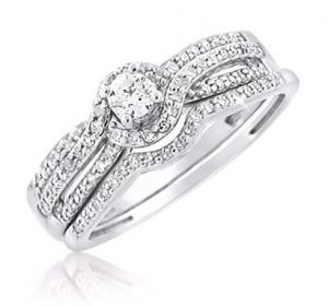ROUND DIAMOND TWIST & TWIRL BRIDAL SET IN 14K WHITE GOLD