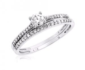 ROUND SOLITAIRE BRIDAL SET IN 14K WHITE GOLD