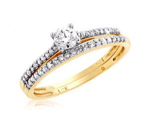 ROUND SOLITAIRE BRIDAL SET IN 14K WHITE/YELLOW GOLD