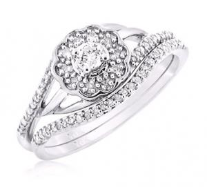 ROUND SOLITAIRE DIAMOND BRIDAL SET IN 14K WHITE GOLD