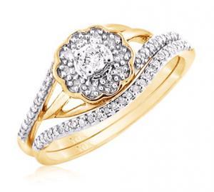 ROUND SOLITAIRE DIAMOND BRIDAL SET IN 14K WHITE/YELLOW GOLD