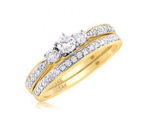 ROUND THREES STONE LADIES BRIDAL SET IN 14K WHITE/YELLOW GOLD