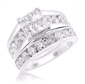 Regal Princess Cut Bridal Set In 14k White Gold
