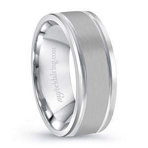 Ridged Wedding Ring In 14K White Gold