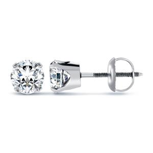 Round Cut Diamond Earrings In 14k White Gold