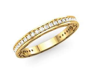Round Diamond Channel Eternity Band (Yellow Gold)