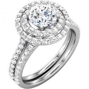 Round Diamond Double Halo Bridal Set