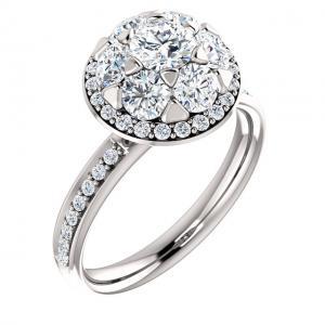 Round Diamond Floral-Inspired Bridal Set