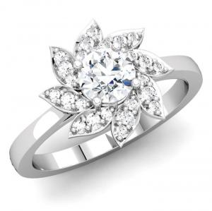 Round Diamond Flower Inspired Engagement Ring