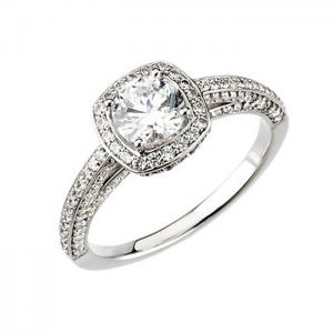 Round Diamond Frame Engagement Ring