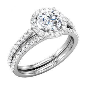 Round Diamond Halo Bridal Set