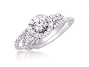 Round Halo-Styled Diamond Bridal Set In 14k White Gold