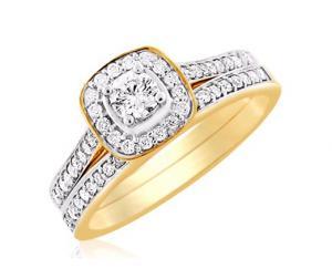 Round Halo Diamond Bridal Ring In 14k White Gold