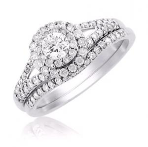 Round Shape Dual Haloed Bridal Set In 14K White Gold