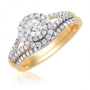 Round Shape Dual Haloed Bridal Set In 14K White/Yellow Gold
