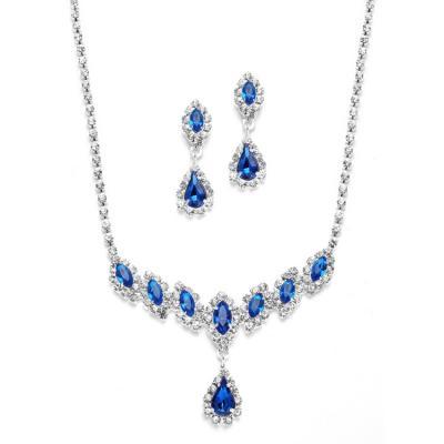 Royal Blue Rhinestone Necklace & Earrings Set