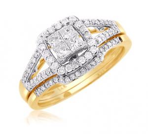 SPLIT-SHANK HALOED PRINCESS CUT DIAMOND BRIDAL SET IN 14K WHITE/YELLOW GOLD