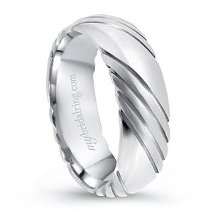 Semi-Grooved 14K White Gold Engagement Band