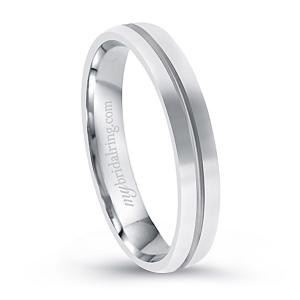 Single Groove Plain 14K White Gold Engagement Band