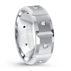 Swiss Cut Flat Diamond Wedding Band