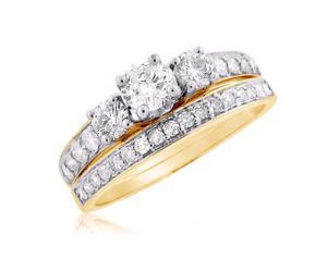 THREE STONE ROUND BRIDAL SET IN 14K WHITE/YELLOW GOLD