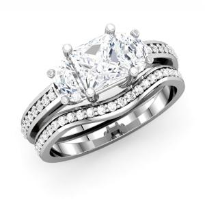Three-Stone Princess Cut Diamond Bridal Set