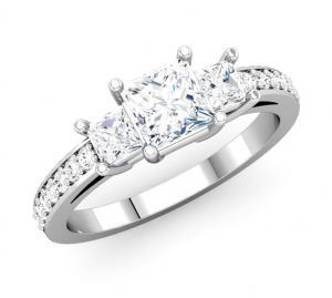 Three-Stone Princess Cut Diamond Channel Ring