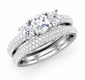 Three-Stone Round Diamond Bridal Set