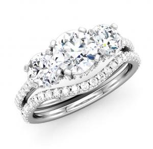 Three-Stone Round Diamond  Bridal Set